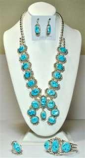 Navajo Sleeping Beauty Turquoise Squash Blossom 4 Piece Set   Mary Ann