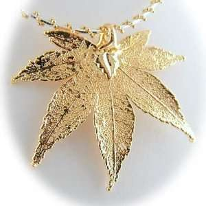 Gold Plated Japanese Maple Real Leaf Sterling Silver Omega Necklace 16
