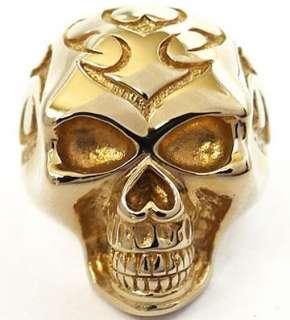 FLAME TRIBAL TATTOO SKULL GOLD BRASS BRONZE RING Sz 9 NEW BIG BIKER