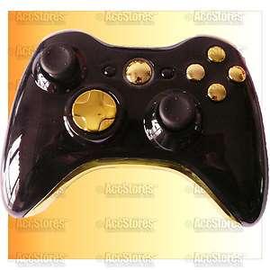 Xbox 360 Wireless Controller Shell Case button Chrome Gold + Black
