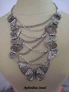 Steampunk Chic Butterfly Crystal Chain Necklace Set