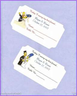 The Simpsons Wedding Table Place Cards Supplies Favors