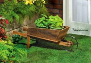 Wheel Barrel Wagon Flower Plant Stand Wooden Planter Cart Yard Art