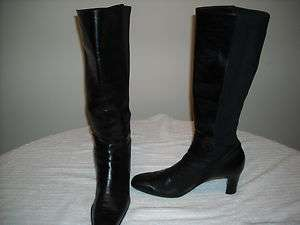 Womens MICHELLE D Tall Black Leather Boots size 8