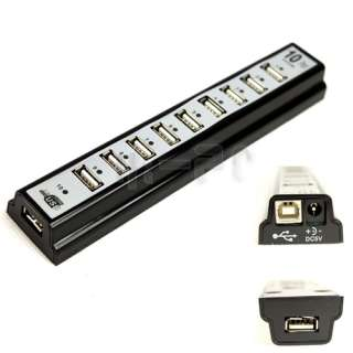New 10 Ports USB HUB 2.0 High Speed with Power Adapter Black