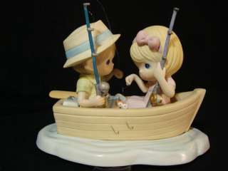 Precious Moments Couple In Boat The Perfect Catch RARE Chapel