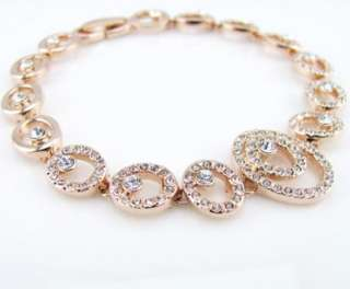 NEW fashion CZ 18K rose gold GP swarovski Tennis bracelet princess B12