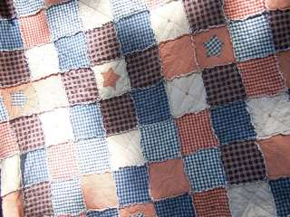King Size Frontier Primitive Rag Bed Quilt Country Star