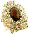Smoky Topaz CZ Big Fancy Gold Plated Sterling Silver .925 Ring Size 9