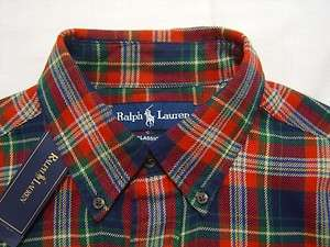 Tall Mens 4XLT Polo Ralph Lauren PONY Flannel Shirt Red Tartan Madras