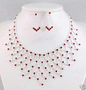 SEXY Red Crystal Rhinestone Necklace Earrings Set S1156