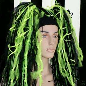 Neon Lime Green Black Knotty Hair Falls Dreads Cyber