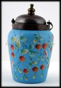 Blue Opaline Tea Caddy Enameled Art Glass Strawberry