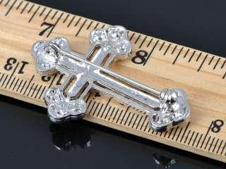 Amethyst Crystal Cross Detail Pin Rhinestone Brooch Necklace Pendant