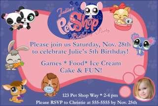 Printed Littlest Pet Shop Custom Birthday Invitations