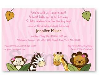 Girl Safari Jungle Animal Baby Shower Invite Printable