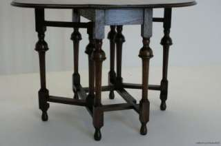 LOVELY ANTIQUE ENGLISH OAK BARLEY TWIST GATE LEG TABLE C1920S