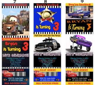 Pixar CARS Birthday Party Ticket Style Invitations