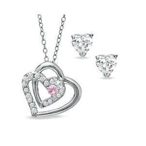 Pink and White Cubic Zirconia Intertwined Heart Pendant