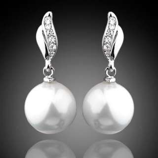 Earrings,Pave Swarovski Crystal White 12mm Shell Pearl Drop