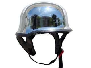 DOT German CHROME Motorcycle Half Helmet Chopper Biker ~XL