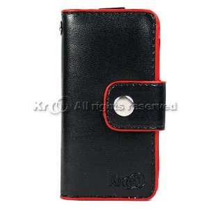 Black with Red Leather Flip Case Cover Pouch WAllet For Brand
