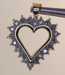 10k yellow gold diamond heart pendant estate vintage fashion antique