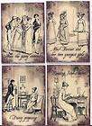 Vintage illustrations Jane Austen Pride and Prejudice ATC cards tags