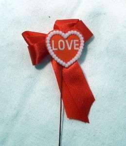 Lot 24 Valentines Day Hearts Love Ribbon Floral Picks