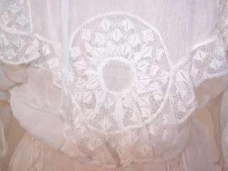 Vintage Edwardian White Batiste Lace Wedding Gown Dress Blouse Skirt