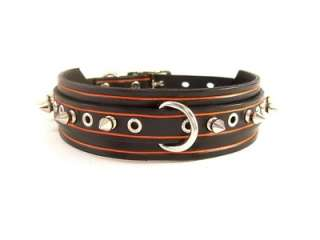 Designer Orange/Black Leather Spiked Studded Dog Collar