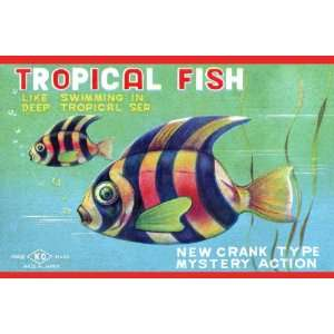 Tropical Fish 12X18 Art Paper with Gold Frame Home