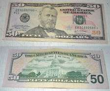 50$ 50 Fifty Dollar Bill STAR NOTE 2004 Federal Reserve Note #01692593