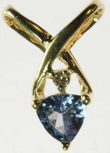 LADIES 14K SOLID YELLOW GOLD TANZANITE TRILLION DIAMOND ESTATE PENDANT