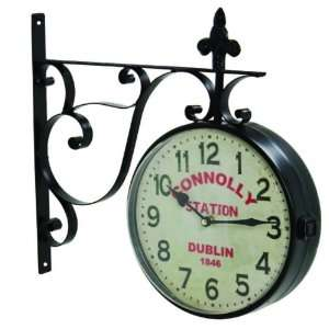 Connolly Station Clock W Metal Bracket Wall Hang Large