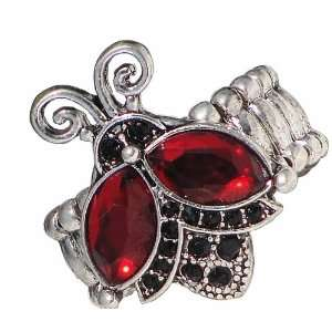 Ring with Red & Black Crystals   Free Size Rolex Stretch Band Jewelry