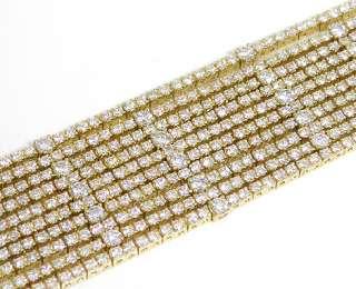18K Yellow Gold Diamond 10 Row Tennis Bracelet