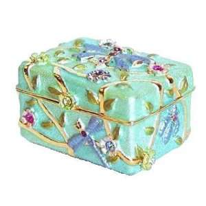Blue Dragonfly Chest Box Swarovski Crystals 24K Gold Keepsake or Pill