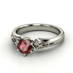 Fiona Ring, Round Red Garnet Palladium Ring Jewelry