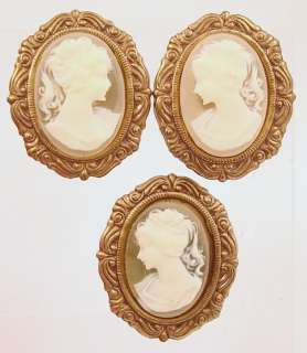 Vintage Antique Cameo Earrings & Button Cover 1940s