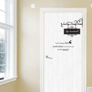 SWEET HOME   DOOR DECORATION WALL STICKER VINYL DECAL