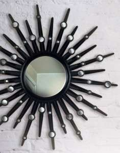 NEW ROUND MODERN BLACK SUNBURST WALL MIRROR O1