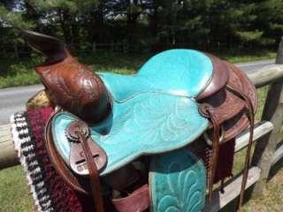 15 Seat Vintage Turquoise & Hand Tooled Leather Western Saddle #3772
