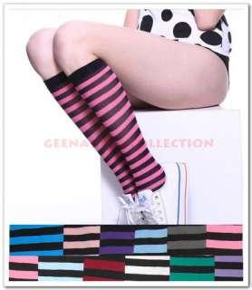 Strip UNDER Knee High Punk SchooL SOCKs HosierY Lady Girl Cute