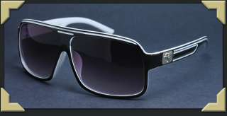 Frame Retro Black White Sunglasses Shades Summer Looks 2 Tone PG4809