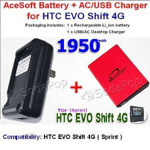 com Brand New AceSoft 1950mAh High Quality Replacement HTC EVO Shift