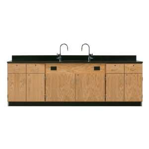 Wall Service Bench with Storage Cabinets Four Drawers and