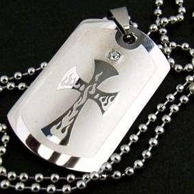 B2520 MEN Stainless Steel Zircon Cross PENDANT Necklace