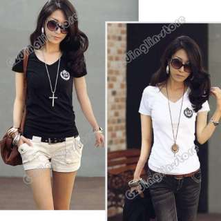 Womens V Neck Short Sleeve Casual Cotton Blouse Tops T Shirts S,M,L