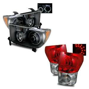 Tundra Black CCFL Halo Projector Headlights + LED Tail Lights Combo